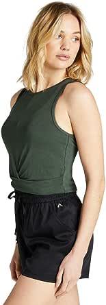Rockwear Activewear Women's Oasis Twist Knot Crop Khaki 6 from Size 4-18 for Singlets Tops