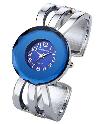 Top Plaza Womens Fashion Elegant Cuff Bangle Analog Quartz Arabic Numeral Bracelet Watch 7''-Silver Tone Blue Face