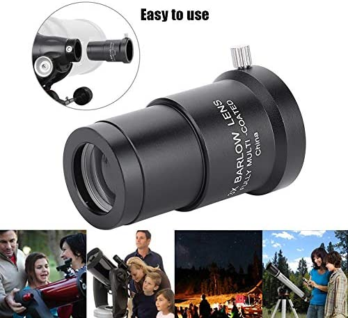 Tangxi 1.25inch Barlow Lens, Full-Coated Eyepiece Lens of 3X High Power Magnification for Astronomy Telescope Eyepieces