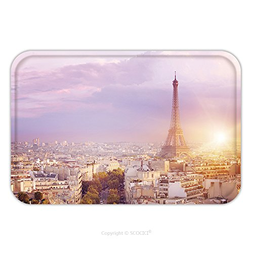 Flannel Microfiber Non-slip Rubber Backing Soft Absorbent Doormat Mat Rug Carpet Sunset Eiffel Tower And Paris City View Form Triumph Arc Eiffel Tower From Champ De Mars Paris 492844249 for Indoor/Out
