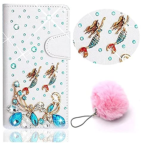 ZTE Grand X Max 2 Case,ZTE ZMax Pro case,Vandot Flip Cover PU Leather Wallet Case 3D Diamond Elegant Rhinestone Magnetic Book Style Protective Case+Pompon Ball Pendent-Swimming (Zte Zmax Phone Cases With Pearls)