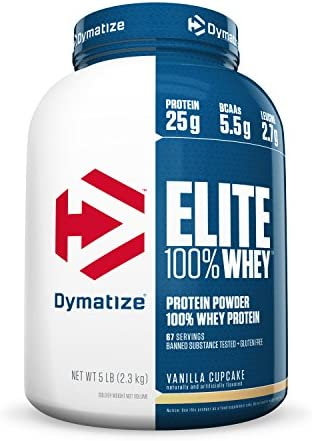 Dymatize Elite 100 Whey Protein Powder, Take Pre Workout or Post Workout, Quick Absorbing Fast Digesting, Vanilla Cupcake, 5 Pound