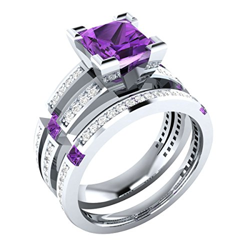 Amethyst Engagement Wedding Set - Gold & Diamonds Jewellery 2.60 ct Princess Cut Created Purple Amethyst Wedding Band Engagement Bridal Ring Set 925 Sterling Silver