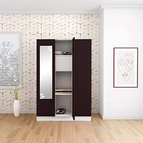 GODREJ INTERIO Slimline 3 Door Steel Almirah with Locker, Star Mirror in Shell Wine Red,Glossy Finish
