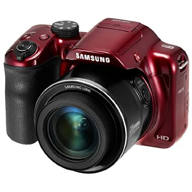 Samsung WB1100F 16.2MP CCD Smart WiFi & NFC Digital Camera with 35x Optical Zoom, 3.0  LCD and 720p HD Video (Red)