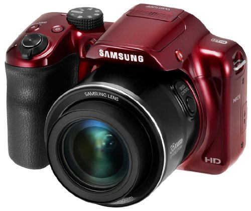 Samsung WB1100F 16.2MP CCD Smart WiFi & NFC Digital Camera with 35x Optical Zoom, 3.0'' LCD and 720p HD Video (Red) by Samsung