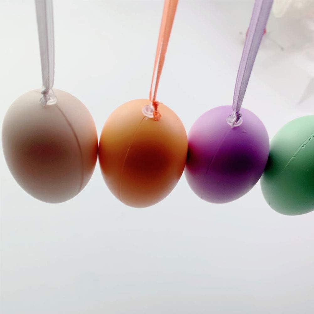 AODOOR Oeufs de P/âques 50 /Œufs en Plastique Oeufs de P/âques Oeufs D/écoratifs avec Corde Suspendue P/âques Bricolage Peinture Oeufs de P/âques D/écoratifs pour Accrocher ou Exposer /à P/âques