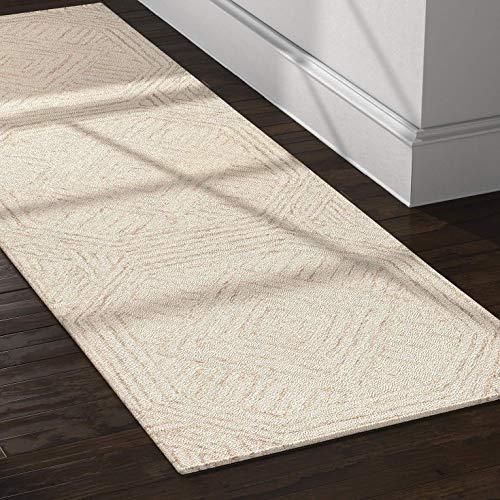 Rivet Contemporary Geometric Wool Runner Hallway Rug, 2 6 x 8 , Grey, Ivory
