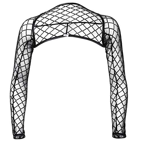 CHICTRY Mens Mesh Fishnet Bolero Shrug Long Sleeve Arm Sleeves Shrug Clubwear Costume Black Medium]()