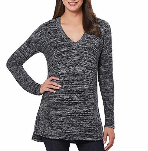 Marled V-neck Sweater (Ellen Tracy 3/4 Sleeve V-Neck Pullover Sweater (Large, Black Ivory))