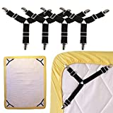 4Pcs Triangle Bed Sheet Holder,Adjustable Fasteners Suspenders Gripper,Elastic Straps Clips for Various Bed Sheets,Mattress Covers,Sofa Cushion,Hospital Beds,Inflatable Beds,tablecloths covers,ironing