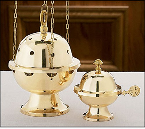 Beautifully Detailed Brass Ornate Censer and Boat Set by Religious Faithful Gifts