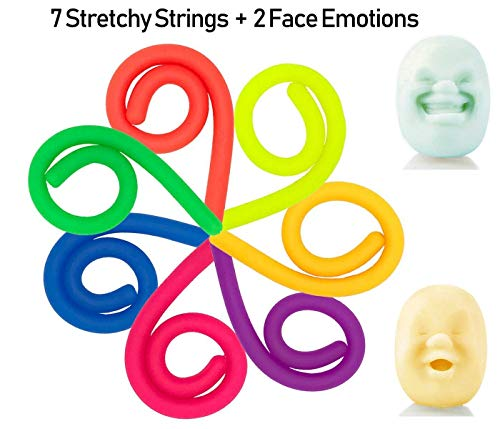 7 Stretchy Strings and 2 Squishy Face Balls - Perfect for Sensory, Fidget, Tactile, Squeeze toy and Office, Desk, Calming ball, Great Stress and Anxiety Reliever, Autism Toy and Exercise