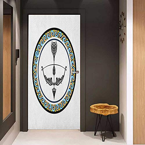 Onefzc Automatic Door Sticker Zodiac Sagittarius Victorian Inspired Bow and Arrow Design with Colorful Curves and Swirls Easy-to-Clean, Durable W31 x H79 Multicolor