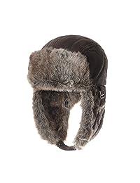 WITHMOONS Leather Bike Trooper Ear Flap Cap Trapper Hat Faux Fur CR7542