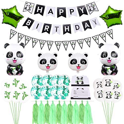 - Panda Birthday Party Supplies Kit  Panda Birthday Decorations  Happy Birthday Banner Triangle Bunting Flags  Tassel Garland  Star Foil Balloons  Panda Foil Balloons  Latex Balloons  Invitation Cards  Green Ribbon for Panda Baby Birthday Party (65pcs).