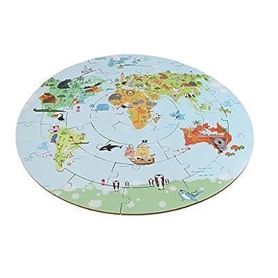 Homyl 36 Pz Gioco Mappamondo Puzzle Jigsaw Geografica Cognitivo Sviluppo Bambini Legno Multicolori