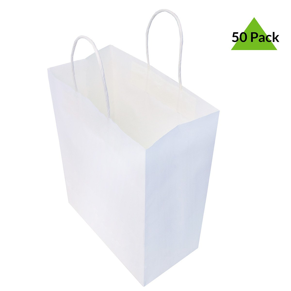 Amazon Com 10x5x13 Pack Of 50 White Kraft Paper Gift Bags With