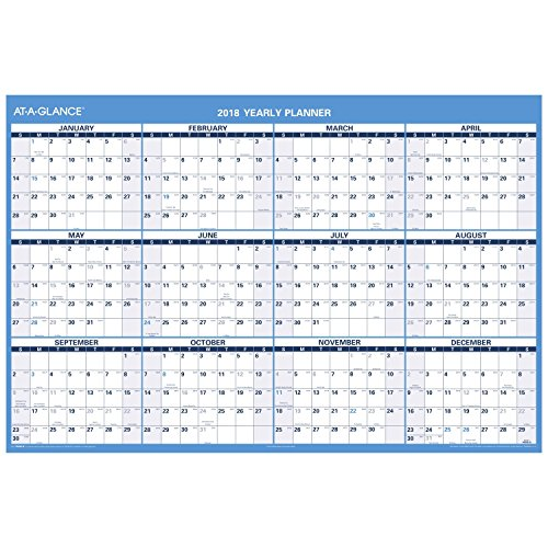 "AT-A-GLANCE Wall Calendar, 48"" x 32"", Horizontal Reversible for Planning Space, Erasable (PM30028)"
