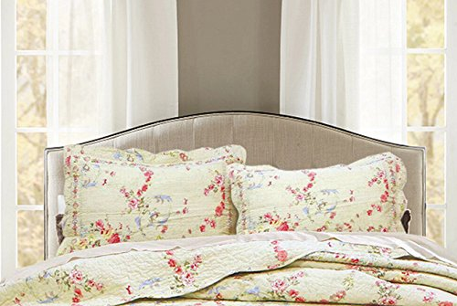 Cozy Line Home Fashions King Shams 20''x 36'', Rose Romance Beige Flower Pattern Printed 100% Cotton Quilted Pillow Sham, Gifts for Women Men(Rose Romance, King Shams(Set of 2)) (French Quilted Pillow)