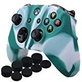 Cheap YoRHa Silicone Cover Skin Case for Microsoft Xbox One X & Xbox One S controller x 1(white green) With Pro thumb grips 8 pieces