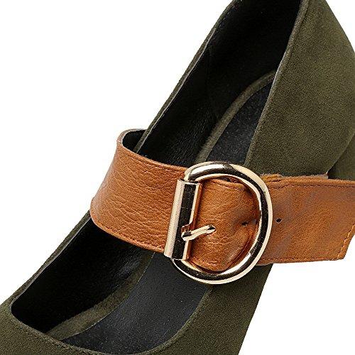 AllhqFashion Damen Rein Mattglasbirne Mittler Absatz Schnalle Quadratisch Zehe Pumps Schuhe Grün