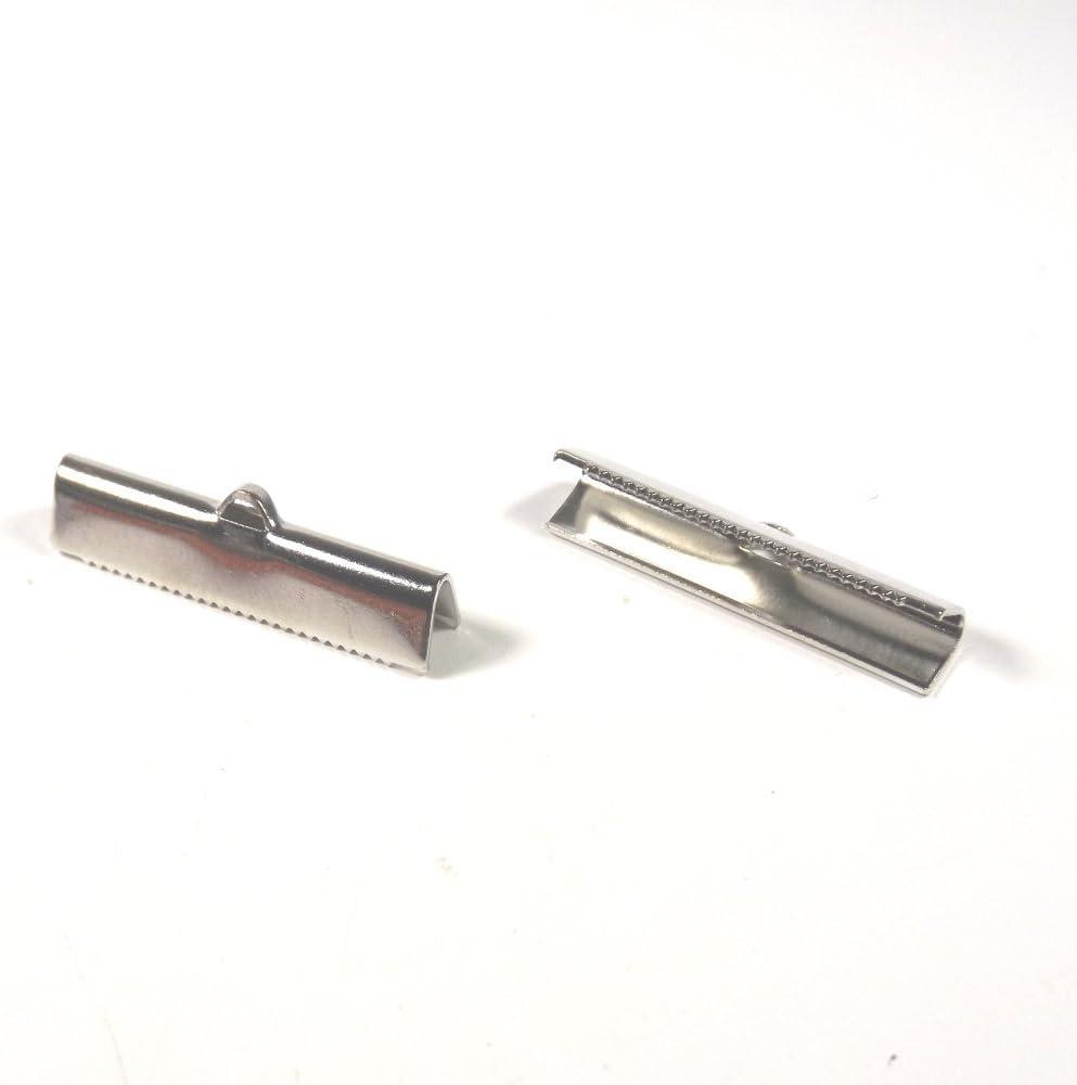 20 Fermoirs Griffe Attaches Ruban Embouts Griffe 30mm x 5mm en Laiton Argenté