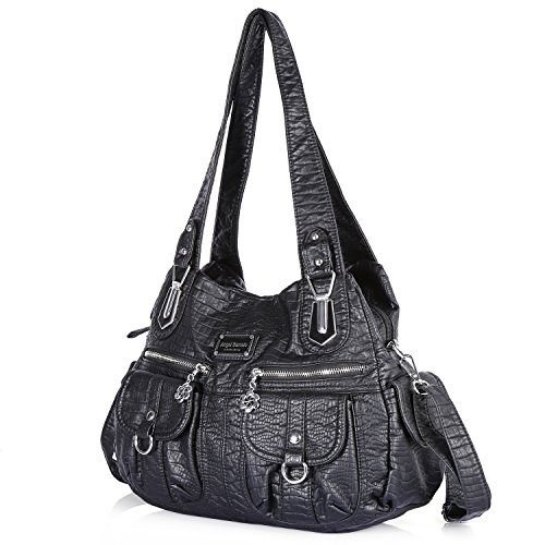 Street Pockets Multiple Hobo 3105 Handbag Ladies' Tote Satchel 1 Shoulder Handle Women Roomy PU Fashion black Bag Top Bag Bag A1wXY