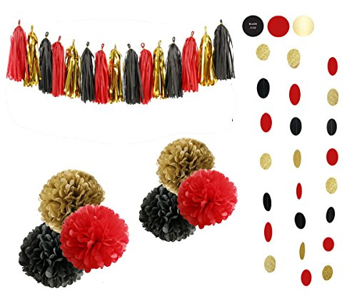 Sopeace 23pcs Tissue Craft Decoration Kit | Pretty Party Supplies: Pom Flowers, Garland & Tassels | Pastel Black, Gold Polka Dot & Red | Perfect poms for a baby shower or girls first 1st birthday.