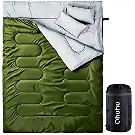 Ohuhu Double Sleeping Bag with 2 Pillows, Waterproof Lightweight 2 Person Adults Sleeping Bag for Camping, Backpacking, Hiking, Bonus Carrying Bag