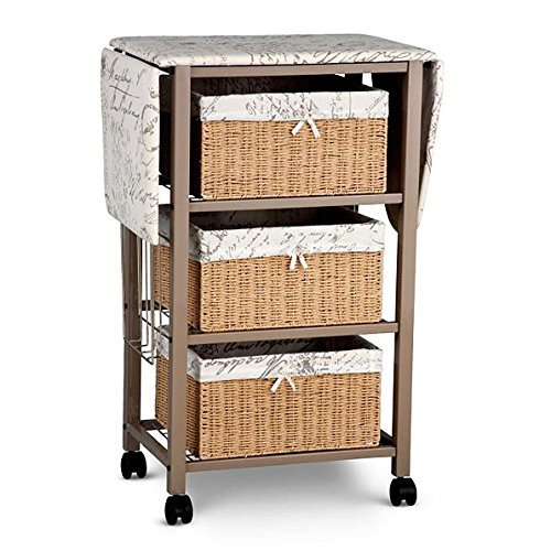 French Script Pattern Ironing Board Center Iron Station Laundry With Storage Baskets