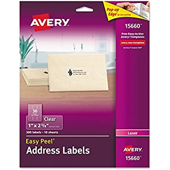 Amazon avery address labels for copiers 1 x 2 1316 box of avery clear easy peel address labels for laser printers 1 x 2 58 pack of 300 15660 saigontimesfo