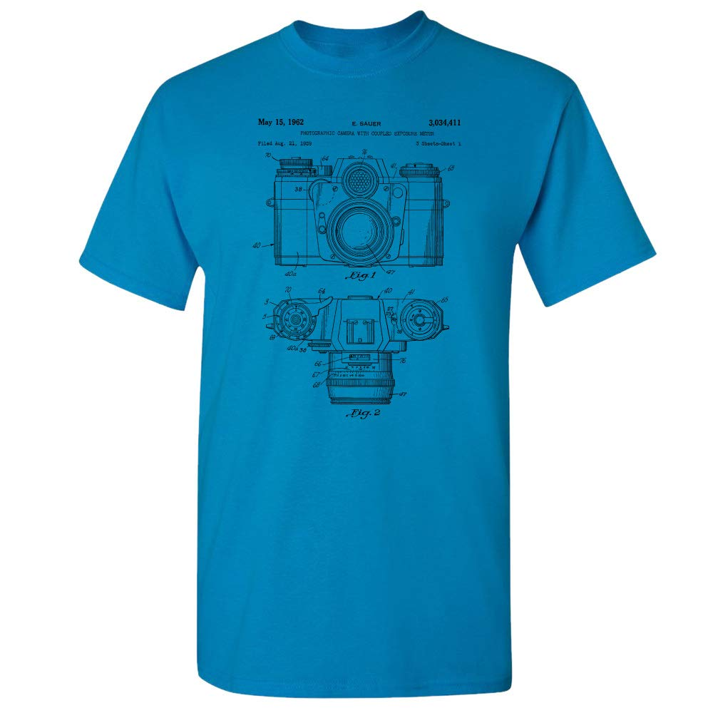 Camera with Coupled Exposure Meter T-Shirt, Photographer Gift, Photojournalism, Photography, Journalism Student, Kodak Sapphire (2XL)