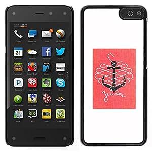 Caucho caso de Shell duro de la cubierta de accesorios de protección BY RAYDREAMMM - Amazon Fire Phone - Cita T'Aime Amor Rosa Blanco Ancla