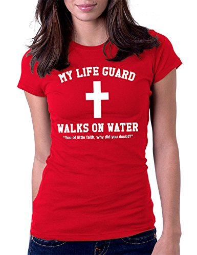 My Lifeguard Walks On Water Jesus Christian - Womens Tee T-Shirt, Medium, Red