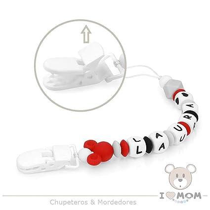 RUBY - Chupetero personalizado con nombre, pinza de plástico con cordón, silicona antibacteriana (Blanco)