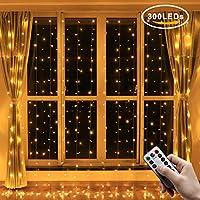 Greatever Lichtervorhang, 300 LEDs Lichterkettenvorhang 3M*3M IP65 Wasserfest 8 Modi Lichterkette für Weihnachten Party...