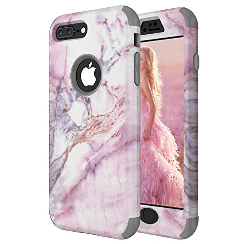 (iPhone 8 Plus Case, ZAOX [Pink Marble Pattern] Hybrid Dual Layer [Hard PC Outer + Soft Silicone Inner] Bumper Protective Shock-Absorption & Anti-Scratch Case for iPhone 8 Plus (Grey))