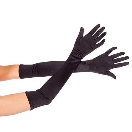 "6ba16645dfb9 DreamHigh Women's Party Wedding 21"" Long Satin Finger Gloves Black"