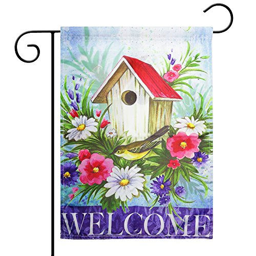 Spring Garden Flag Season flag Welcome flag,Double-Sided (Birdhouses Garden)