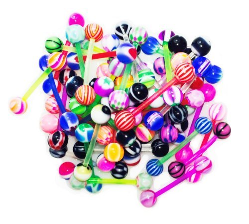 51 Flexible Tongue Ring Assorted Color Piercing Barbells 14 Gauge (1.6mm)
