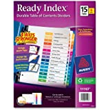 Avery Ready Index Table of Contents Dividers, 15-Tab Set, 6 Sets (11197)