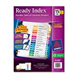 Avery Ready Index Table of Contents Dividers, 15-Tab, Multi-Color, 6 Sets (11197), Office Central