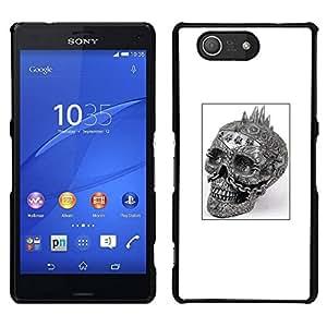 Caucho caso de Shell duro de la cubierta de accesorios de protección BY RAYDREAMMM - Sony Xperia Z3 Compact - Cráneo punky Negro Cartel del motorista negro