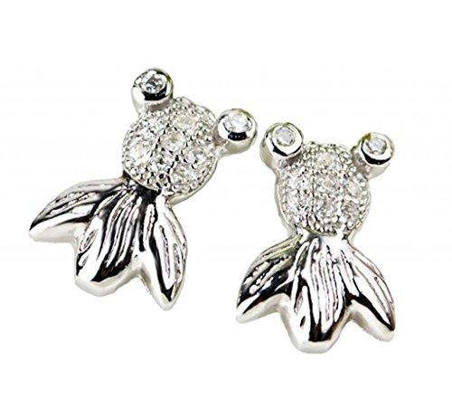 14k Goldfish Hook Earrings (KnSam Women Platinum Plate Stud Earrings Goldfish White Crystal Rhinestone [Novelty Earrings])
