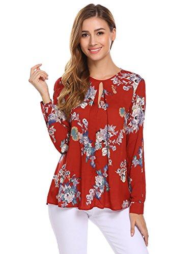- Zeagoo Women's Fall Keyhole Long Sleeve Bohemian O Neck Printed Loose Blouse, W-red, Small