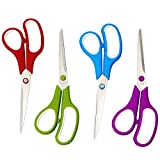 CCR Scissors 8 Inch Soft Comfort-Grip Handles Sharp Blades, 12-Pack