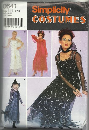 Simplicity 0641 Sewing Pattern, Misses' Costumes - Witch, Vampire, Devil, Angel, Size HH (6-12) -