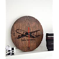 Wall Clock wood by Enjoy The Wood Plane Travelling Adventure Custom Engraved Housewarming Home decor Hanging Round Gift for Boyfriend Brother Husband Wall decor for living room bedroom Nursery