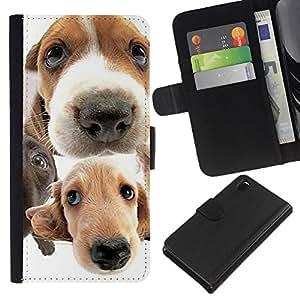 Golden Retriever Jack Russell Terrier - la tarjeta de Crédito Slots PU Funda de cuero Monedero caso cubierta de piel Sony Xperia Z3 D6603